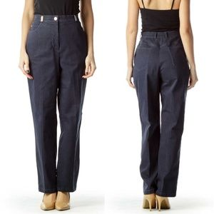 St. John Sport Dark Blue Denim Wide Leg Jean Pant